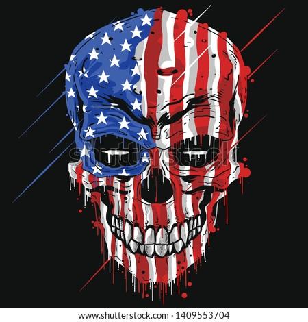 SKULL HEAD AMERICA FLAG . USA COLOR WITH GRUNGE EDITABLE LAYERS VECTOR