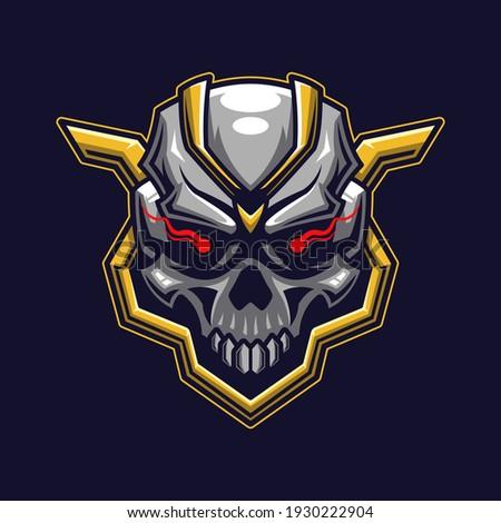 Skull head logo gaming. Devil head face esport twitch avatar. Character mascot design