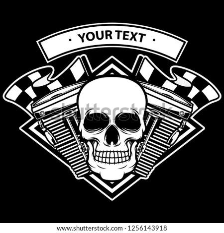 skull head machine logo, vector EPS 10