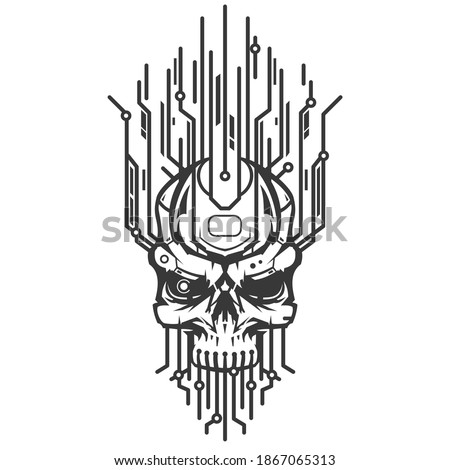Skull head of robot with technology elements. Creative character design isolated on white background in hand drawn cartoon style. Futuristic concept for print, cover, tattoo. Vector illustration.