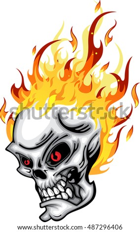 skull head on fire red eye with