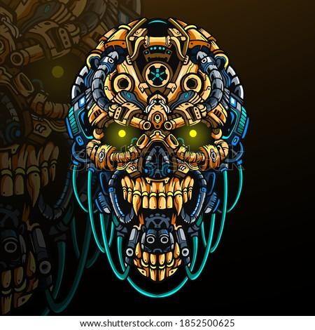 skull head robot  mascot