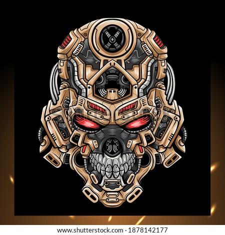skull head robot mascot esport