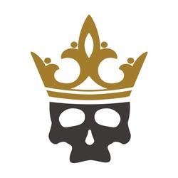 skull head wearing gold crown vector design