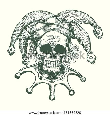 Skull Hat Skull Head Wearing Joker Hat