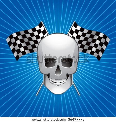 skull head with crossed checkered flags on blue star-burst background