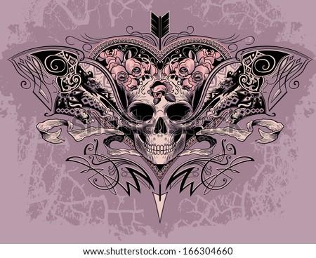 skull heart on a dusty mauve