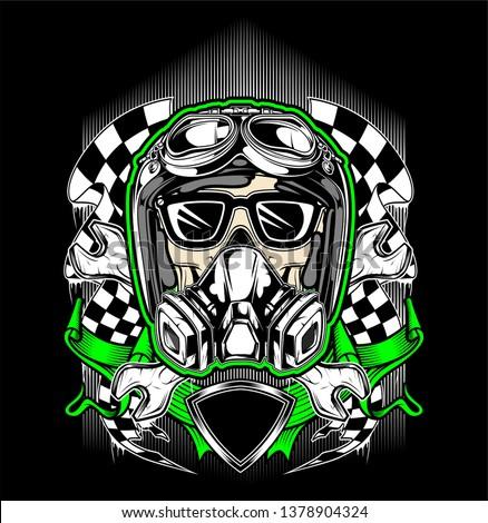 skull helmet racing with gas mask-vector