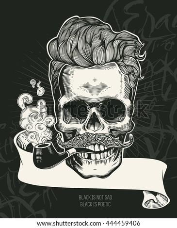 skull hipster skull silhouette