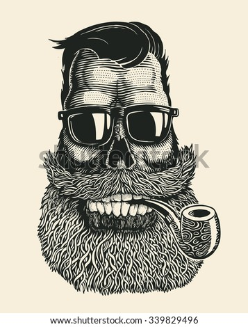 skull hipster with mustache