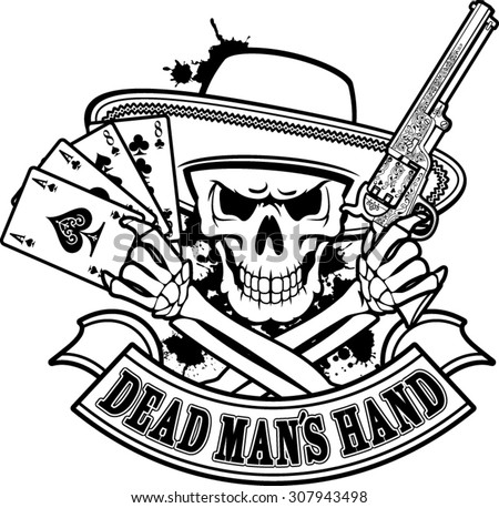 skeleton hands holding cards and pistol images free