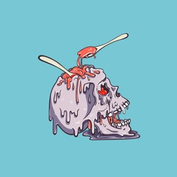 Skull ice cream melts and flows. Eat jam with spoon of the skull. Make the brain. Creepy cartoon illustration for prints, t-shirts, Halloween or tattoo.