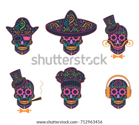 skull icon mexican with