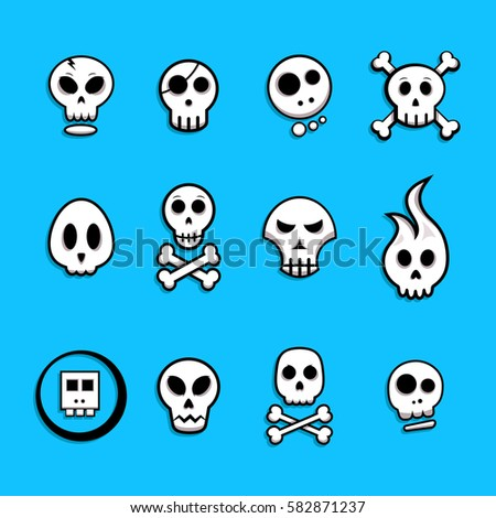 skull icon set   vector