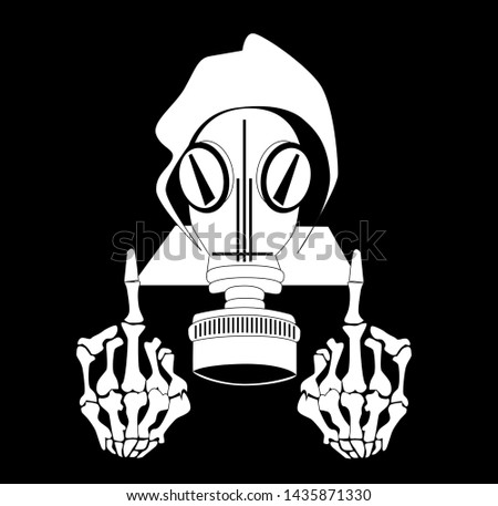 skull icon with gas mask and