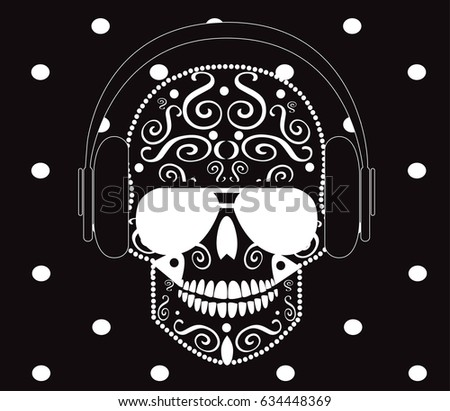 skull icon with headphones and
