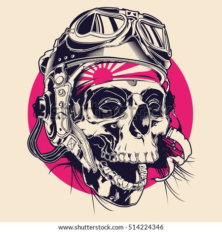 skull illustration with pilot