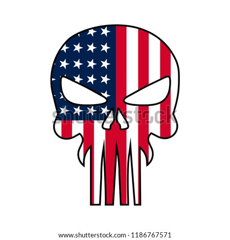 Skull illustration with USA national flag, T-Shirt graphics, vector design