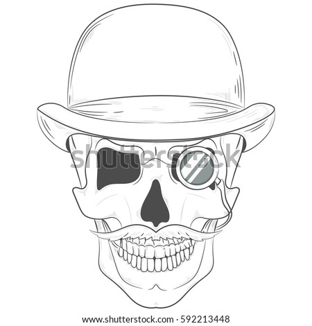 301c7a890da6d Skull in a bowler hat. gentleman skull with a monocle. Vector print ...