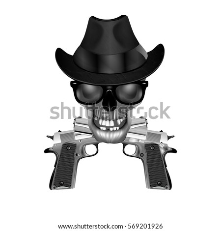 skull in a hat  sunglasses and