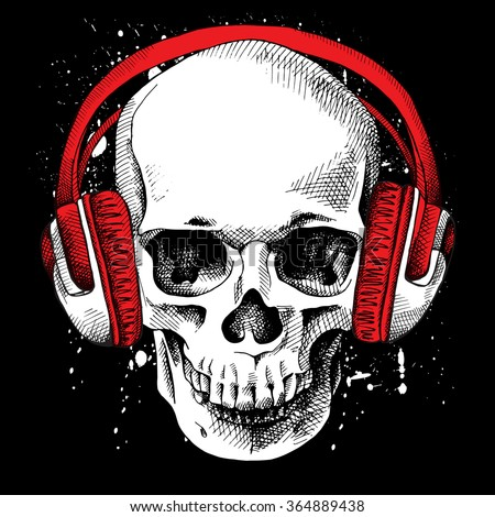 skull in a headphones on a