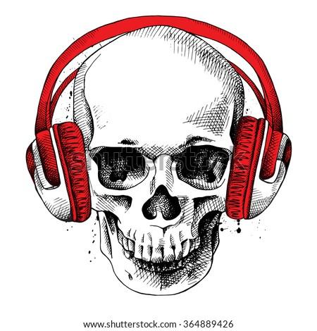 skull in a headphones vector
