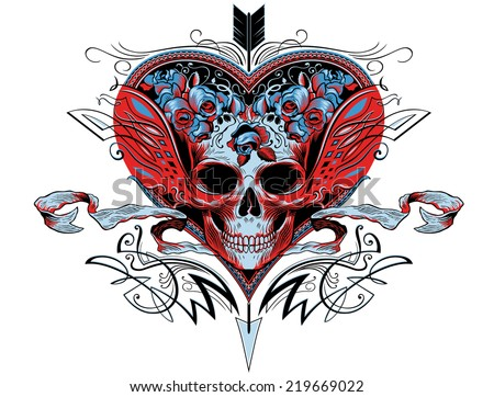 Skull In A Red Heart Graphic With Flourishes Roses And An Arrow Puncturing The