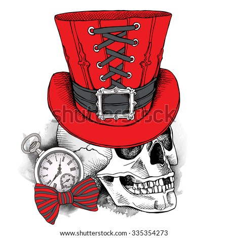 skull in a red steampunk top