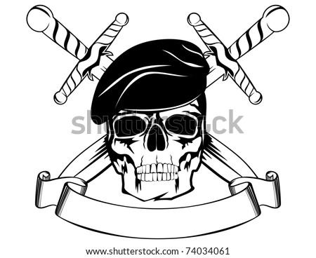 Skull in beret with the crossed daggers - stock vector