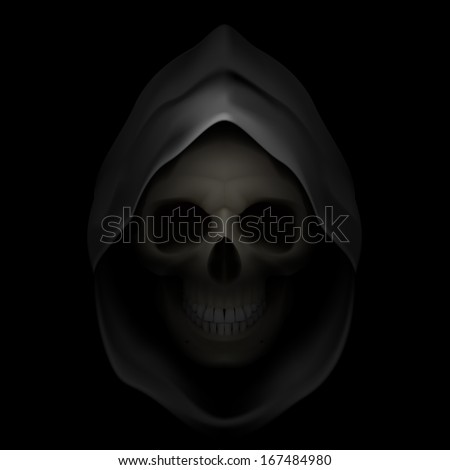Skull in black hood as image of death. Grim Reaper.