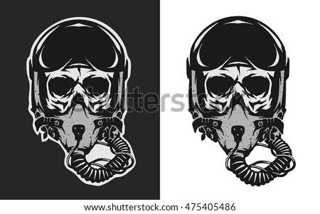 skull in combat pilot helmet