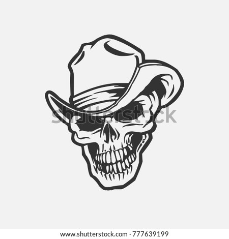 skull in cowboy hat vector