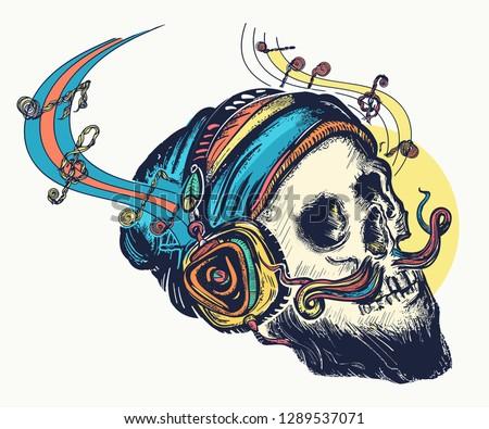 skull in earphones listens to
