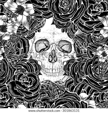 skull in field of flowers