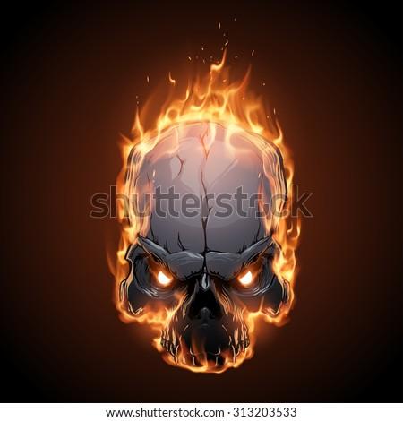 skull in fire