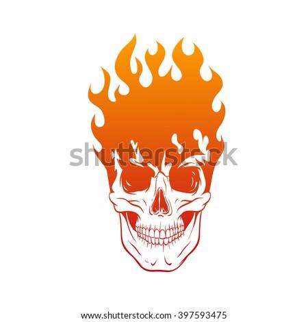 skull in fire tattoo design