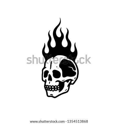 skull in fire white background