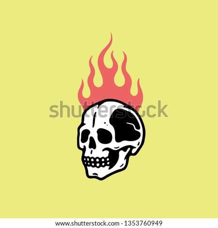 skull in fire yellow background