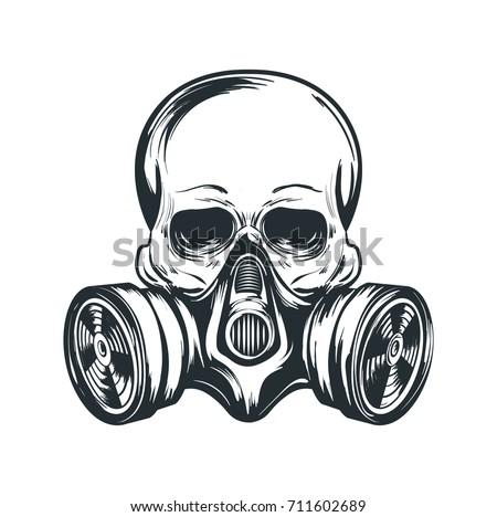 skull in gas mask illustration