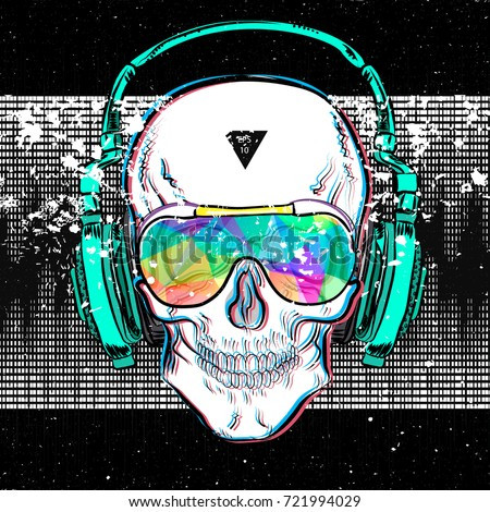 skull in glasses and headphones