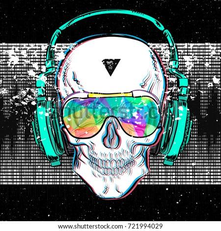 skull in glasses and headphones