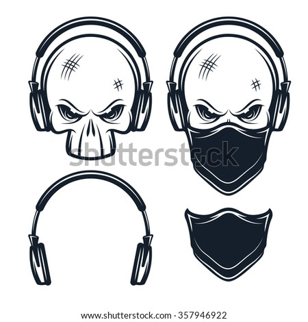 skull in headphones set of