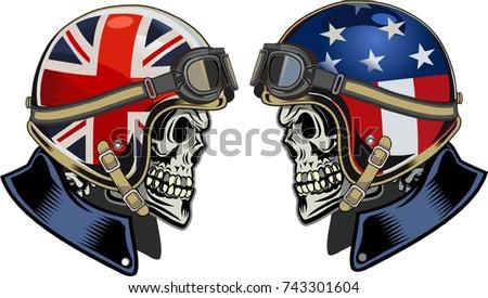 skull in  motorcycle helmet
