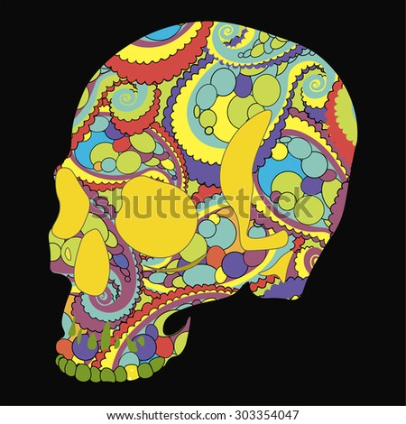 skull in patterns vector