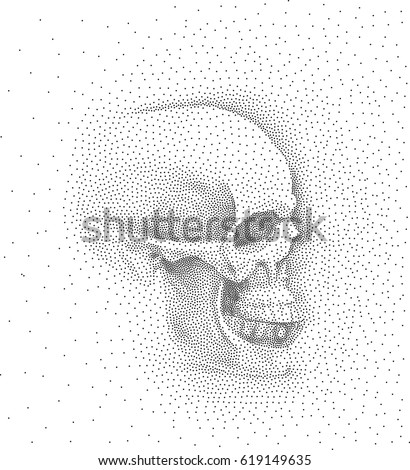 skull in profile on white