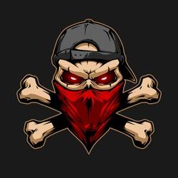 Skull in red bandana and black cap