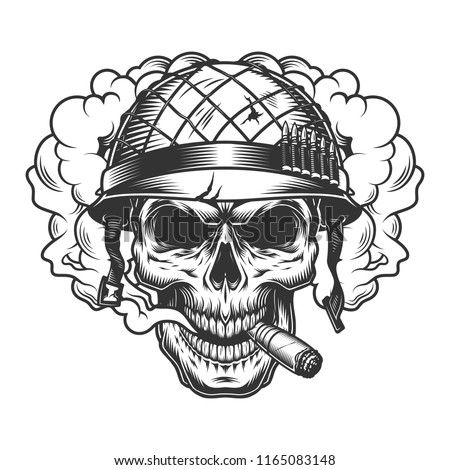 skull in smoke cloud and