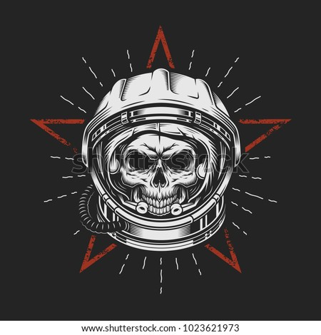 skull in space helmet with star