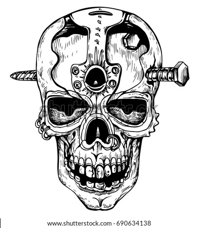 skull in steampunk style   hand