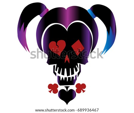 skull in style of 'harley quinn'